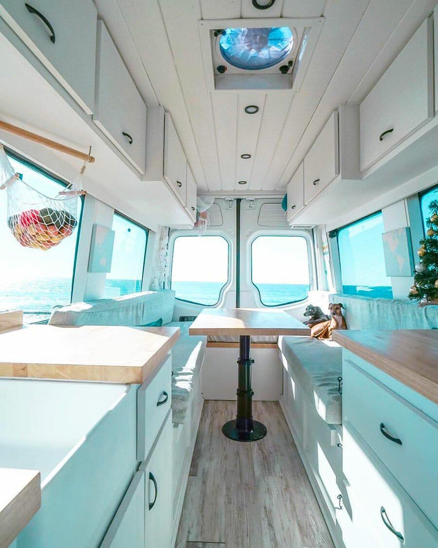 Custom diy camper van conversion bed in a dodge sprinter van