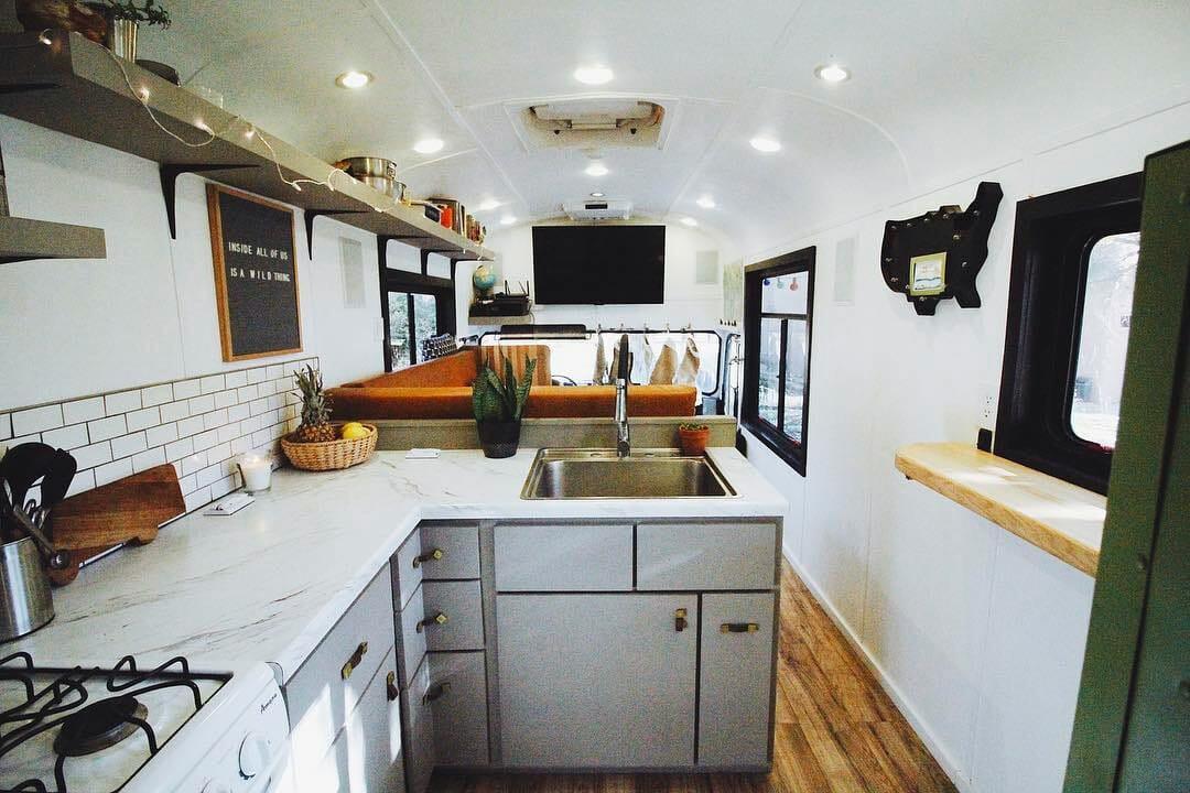 modern skoolie bus conversion design